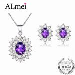 Almei Princess Diana Jewelry Set William Engagement Wedding Genuine Amethyst Jewelry 925 Sterling <b>Silver</b> with A Box CT003