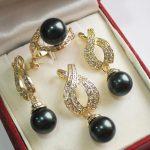 Prett Lovely Women's Wedding Hot! perfect match beautiful <b>jewelry</b> 18KGP + 12mm black shell pearl pendant, earring, , ring set