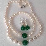 Prett Lovely Women's Wedding shipping>> Natural white Akoya Pearl/Green gem Necklace Bracelet earrings Set/37 silver-<b>jewelry</b>