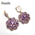 Rosalie,Luxury Big Clasp <b>earring</b> with natural Brazil amethyst round cut gemstone fine jewelry women anniversary birthday party