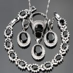 Black Stones Costume Silver 925 Ladies <b>Jewelry</b> Sets For Women White CZ Ring Size 6/7/8/9/10 Bracelet Length 18+2CM Free Gift Box