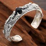<b>Handmade</b> S925 dragon Bangle 925 silver Man Bangle vintage thai silver dragon bangle man <b>jewelry</b> gift
