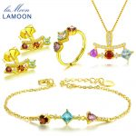 LAMOON Natural Red Garnet Blue Topaz Purple Amethyst Gemstone S925 Sterling <b>Silver</b> Jewelry Sets for Women Fine Jewelry V013-1