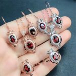 wholeale MEDBOO brand zircon natural red garnet stone 925 sterling <b>silver</b> jewelry set for women wedding engagement birthday gift
