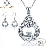 Angel Caller 925 <b>Silver</b> Jewelry Sets Claddagh Design Necklace/<b>Earrings</b> Sterling Sliver Celtics Knot Pendants&Eardrop for Gifts