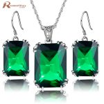 New Fashion Green Rhinestone Wedding Jewelry Sets For Brides Prom Party Costume Accessories Bridal Pendant <b>Earring</b> Vintage Sets