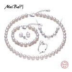 MeiBaPJ 925 <b>Sterling</b> <b>Silver</b> 5 Items Sets 100% Real Natural Pearl <b>Jewelry</b> Set For Women Top Quality White Color Gift Box