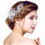YAZILIND Bridal Hair Combs Silver Leaves <b>Handmade</b> Pealrs <b>Jewelry</b> Shell Tiaras Hairpins Head Clips Wedding Hair Accessories