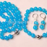 10MM Blue Chalcedony Necklace +Bracelet +Earrings <b>Jewelry</b> Sets Natural Beads Stone Fashion <b>Jewelry</b> <b>Making</b> Design Wholesale Price
