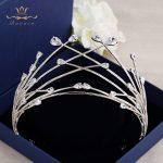 Bavoen European Oversize Silver Sparkling Zircon Bridal hairbands Crystal Crown Tiara <b>Wedding</b> Dress Hair Accessory Prom <b>Jewelry</b>
