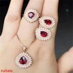 KJJEAXCMY boutique jewels 925 Pure <b>silver</b> inlaid with natural pomegranate stone necklace pendant ring <b>earrings</b> 3 pieces of jewel
