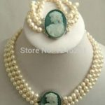 Selling Jewelry>>>Natural 3 row 7-8mm White Akoya Pearl Cameo <b>Necklace</b> Bracelet Beads Jewelry Set Making Natural Stone 18inch