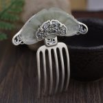 Stone Inlay Thai <b>Silver</b> Hair Comb Vintage Chinese Style <b>Silver</b> Hairpin Peony Flower Hair Pin <b>Jewelry</b> Hair Accessories WIGO1151