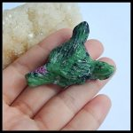 <b>Handmade</b> Wolf Head Natural Stone Ruby And Zoisite Carved Animal Pendant 43x35x15mm 25.34g Beautiful <b>Jewelry</b> Pendant Accessories