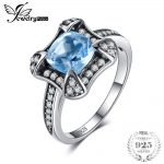 JewelryPalace Retro 1.8ct Natural Sky Blue Topaz Halo Ring For Woman Genuine 925 Sterling <b>Silver</b> Ring Wedding Fine <b>Jewelry</b>