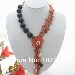 eautiful! 20″ Onyx&Natural Carnelian <b>Necklace</b> free shipment