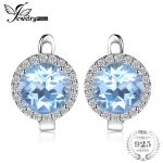 JewelryPalace 5.4ct Natural Sky Blue White Topaz Halo Stud <b>Earrings</b> Genuine 925 Sterling <b>Silver</b> Jewelry For Women Fashion Gift
