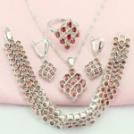 WPAITKYS Trendy Pomegranate Red Stone <b>Silver</b> Color Women's Wedding Jewelry Sets Earrings <b>Bracelet</b> Necklace Ring Free Gift Box