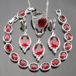 2017 New Oval Red Stones White CZ 925 Sterling Silver <b>Jewelry</b> Sets For Women Bracelets <b>Necklace</b> Pendant Earrings Ring