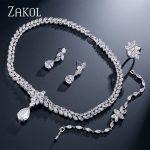 ZAKOL Luxury Big Teardrop Cubic Zirconia Earrings <b>Necklace</b> Bracelet And Ring Full <b>Jewelry</b> Set For Women Dinner Dress FSSP237