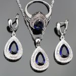Blue Zircon Bridal 925 Sterling Silver <b>Jewelry</b> Sets For Women Costume Pendants&Necklaces Earrings With Stones Rings Set Gift Box