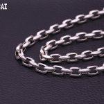 S925 <b>sterling</b> <b>silver</b> <b>jewelry</b> Thai <b>silver</b> fashion 8mm angle buckle personality men fashion rough necklace