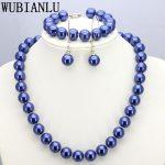 WUBIANLU 19 style 12mm Dark Blue Glass Pearl Necklace Set Necklaces 45cm Bracelet 19cm Earring Women <b>Jewelry</b> <b>Making</b> Design