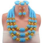 Lake Blue 2017 Fashion <b>Handmade</b> African Beads <b>Jewelry</b> Set Costume Nigerian Wedding Bridal Crystal beads Necklace Set