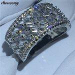 choucong <b>Handmade</b> Baguette Ring 5A Zircon Cz White Gold Filled Engagement Wedding Band Rings for women men Finger <b>Jewelry</b>