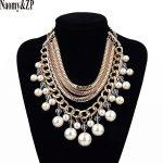 Naomy&ZP Collar Choker Statement Necklace Women Chain Brand Power Luxury Layered Maxi Simulated Pearl Necklace <b>Accessory</b> <b>Jewelry</b>