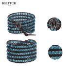KELITCH <b>Jewelry</b> 1Pcs Blue Crystal Beads Leather Chain Multilayers <b>Handmade</b> Classic 5 Wrap Beaded Women Bracelet Top Package