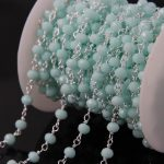 5Meter Blue Glass Faceted Rondelle bead Chain,Sliver plated Rosary Chains,Tone Wire Wrapped Necklace Fashion bracelet <b>making</b>