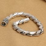 8mm <b>Handmade</b> S925 silver link chain bracelet good luck bracelet vintage thai silver man bracelet male <b>jewelry</b> gift