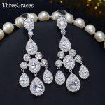 ThreeGraces Luxury Bridal CZ <b>Jewelry</b> Brilliant Cubic Zirconia Crystal Long Dangling Wedding Chandelier Earrings For Brides ER354