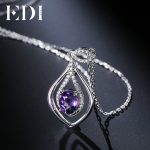 EDI Oval 2ct Natural Purple Gemstone Amethyst Pendant 925 Sterling <b>Silver</b> Chain <b>Necklace</b> Birthstone Fine Jewelry For Women