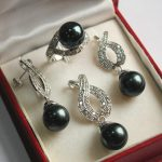 Prett Lovely Women's Wedding Hot! nice new <b>jewelry</b> silver plated 12mm black shell pendant, earring, , ring set