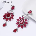 New <b>wedding</b> earrings with red stones female party <b>jewelry</b> fashion beautiful jewellery Bohemia earring