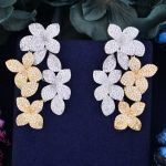 GODK 55mm Luxury 2 Tone Flower Boom Full Mirco Cubic Zirconia Naija <b>Wedding</b> Women Earring Fashion <b>Jewelry</b>