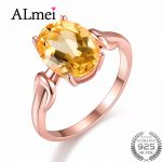 Almei Natural Oval Yellow Citrine 925 Sterling <b>Silver</b> <b>Jewelry</b> Rose Gold Color Wedding Anniversary Ring Women with Box 40% FJ076