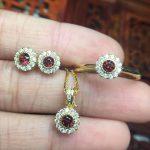 Natural red garnet jewelry sets natural gemstone ring Pendant <b>Earrings</b> S925 <b>silver</b> Elegant Simple elegant round fine jewelry