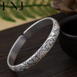 FNJ 925 <b>Silver</b> Clover Flower Bangle Vintage Open Size 56mm Original S990 <b>Sterling</b> <b>Silver</b> Bangles for Women <b>Jewelry</b> 8mm