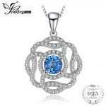 JewelryPalace Flower 1ct Natural London Blue Topaz Pendants For Women Gift 925 Sterling <b>Silver</b> Fine <b>Jewelry</b> Not Include A Chain