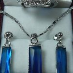 Lovely Women's Wedding Design Perfect Match Blue Crystal Earrings Ring(#6 7.8.9)Pendant <b>Jewelry</b> Set