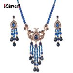 Kinel Blue Natural Stone <b>Necklace</b> And Earrings For Women Antique Gold Crystal Ethnic Vintage Wedding <b>Jewelry</b> Sets