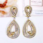 Luxury Long Drop Earrings for Women Gold-color Bridal <b>Wedding</b> High Quality Cut AAA Cubic Zirconia Earrings Fashion <b>Jewelry</b> 2017