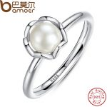 Original 925 Sterling SILVER RING WITH WHITE FRESH WATER CULTURED PEARL Authentic Cultured Elegance Pearl <b>Jewelry</b> PA7118