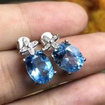 natural blue topaz stud earrings 925 <b>silver</b> Natural gemstone earring women fashion Lucky cute clover earrings <b>jewelry</b> for party