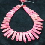 High Quality Pink Gems Stone Necklace Point Pendant Beads, Top Drilled Women Fashion <b>Jewelry</b> Spike DIY <b>Making</b> Finding Gems
