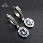 TBJ,2018 new classic clasp <b>earring</b> with natural brazil aquamarine gemstone jewelry in 925 sterling <b>silver</b> for anniversary gift