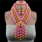 Plastic Pearl Ball Fantastic Pink African Wedding Beads <b>Jewelry</b> Set <b>Handmade</b> Crystal Statement Necklace Set Pendant for Bride
